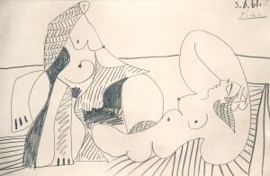 x-Picasso-BAIGNEUSES-Dibujo-a-lápiz-33-x-50-cm-1961